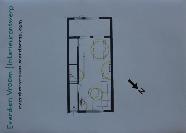 Everdien Vroom Interieurontwerp | Plattegrond woonkamer Maassluis