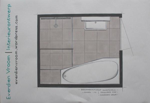 Plattegrond badkamer Kwintsheul | Everdien Vroom Interieurontwerp