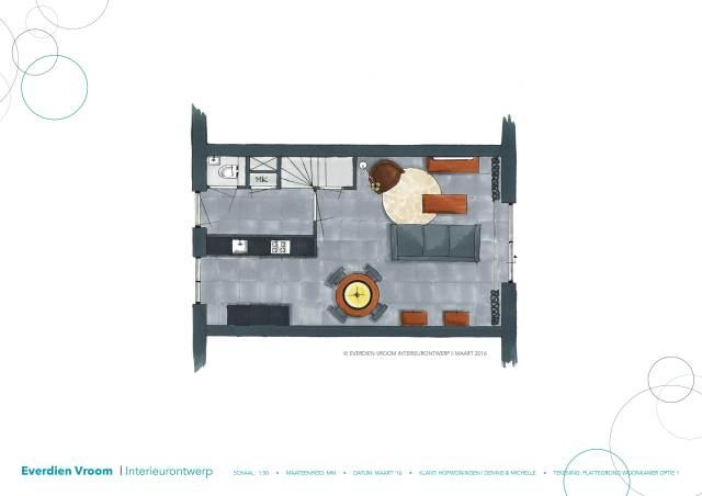 Plattegrond zonder uitbouw hofwoningen rijswijk | Everdien Vroom Interieurontwerp